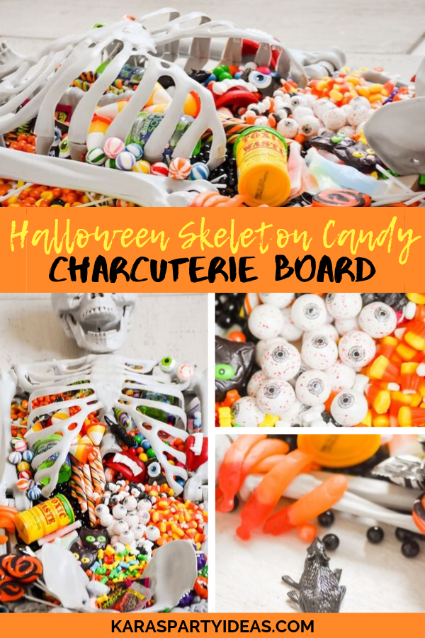 Halloween Skeleton Candy Charcuterie Board via Kara's Party Ideas - KarasPartyIdeas.com