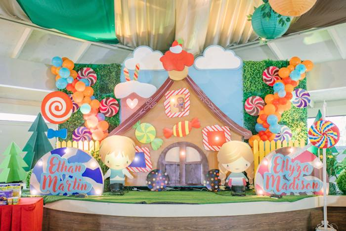 Candy House Backdrop + Stage from a Hansel & Gretel Inspired Birthday Party on Kara's Party Ideas | KarasPartyIdeas.com (23)