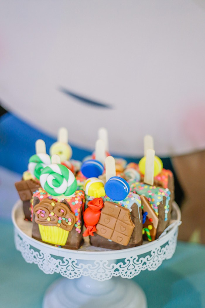 Candy Themed Crispy Pops from a Hansel & Gretel Inspired Birthday Party on Kara's Party Ideas | KarasPartyIdeas.com (10)