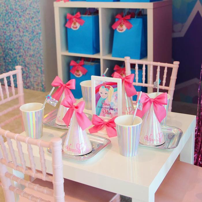 Guest Table from a JoJo Siwa Inspired Birthday Party on Kara's Party Ideas | KarasPartyIdeas.com (7)