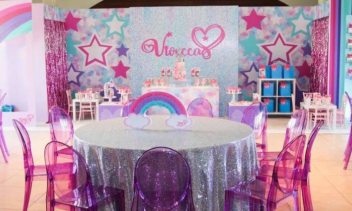 Glitter Guest Table with Pink + Purple Ghost Chairs from a JoJo Siwa Inspired Birthday Party on Kara's Party Ideas | KarasPartyIdeas.com (14)