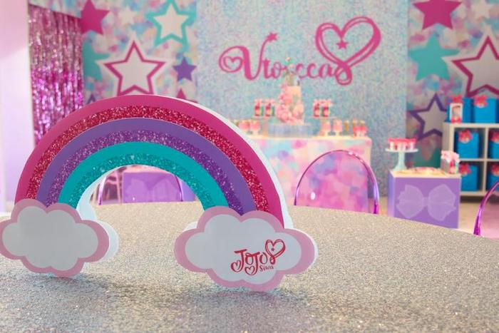 Rainbow Table + Centerpiece from a JoJo Siwa Inspired Birthday Party on Kara's Party Ideas | KarasPartyIdeas.com (9)