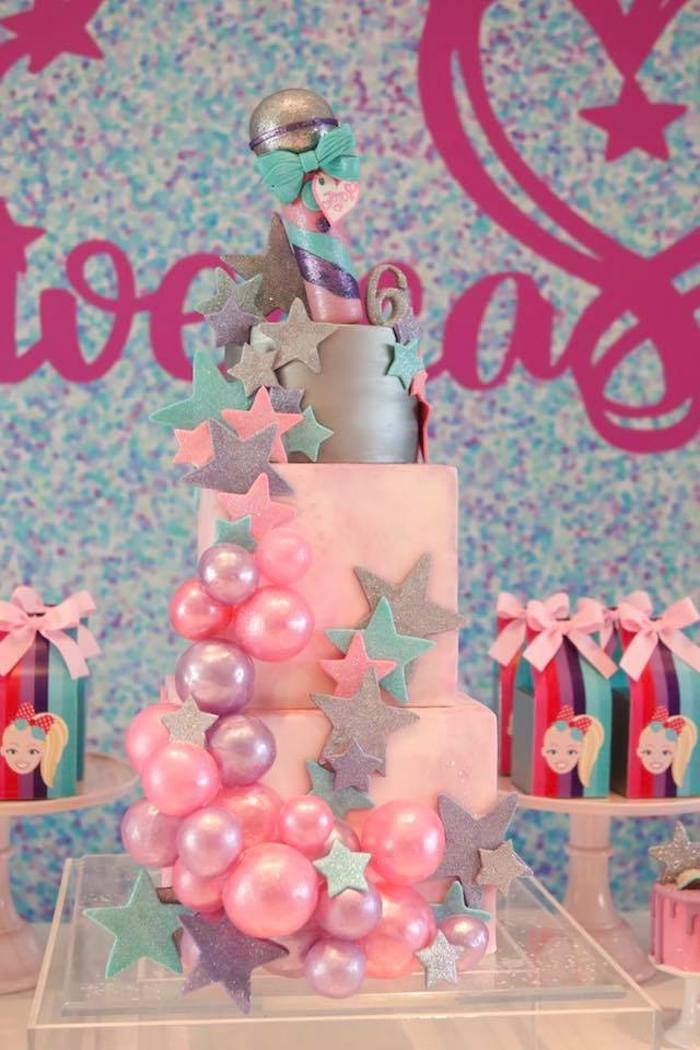 Girly Rockstar Cake from a JoJo Siwa Inspired Birthday Party on Kara's Party Ideas | KarasPartyIdeas.com (8)