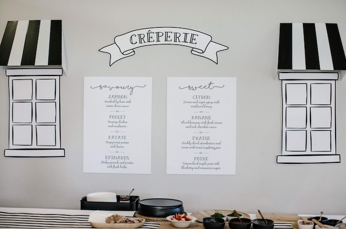 French Creperie-inspired Crepe/Food Table from a Madeline in Paris Inspired Birthday Party on Kara's Party Ideas | KarasPartyIdeas.com (21)