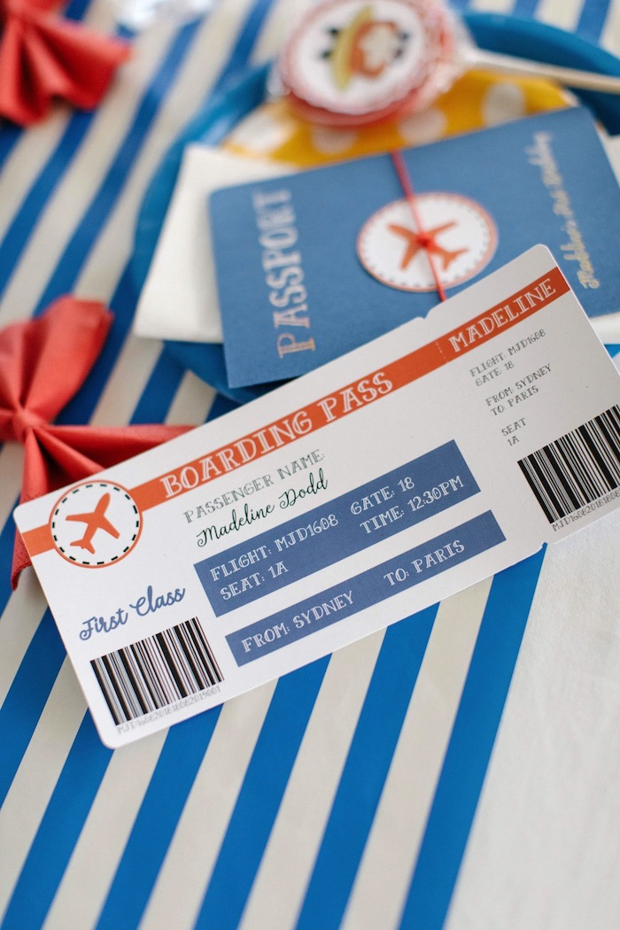 Boarding Pass Place Card from a Madeline in Paris Inspired Birthday Party on Kara's Party Ideas | KarasPartyIdeas.com (17)