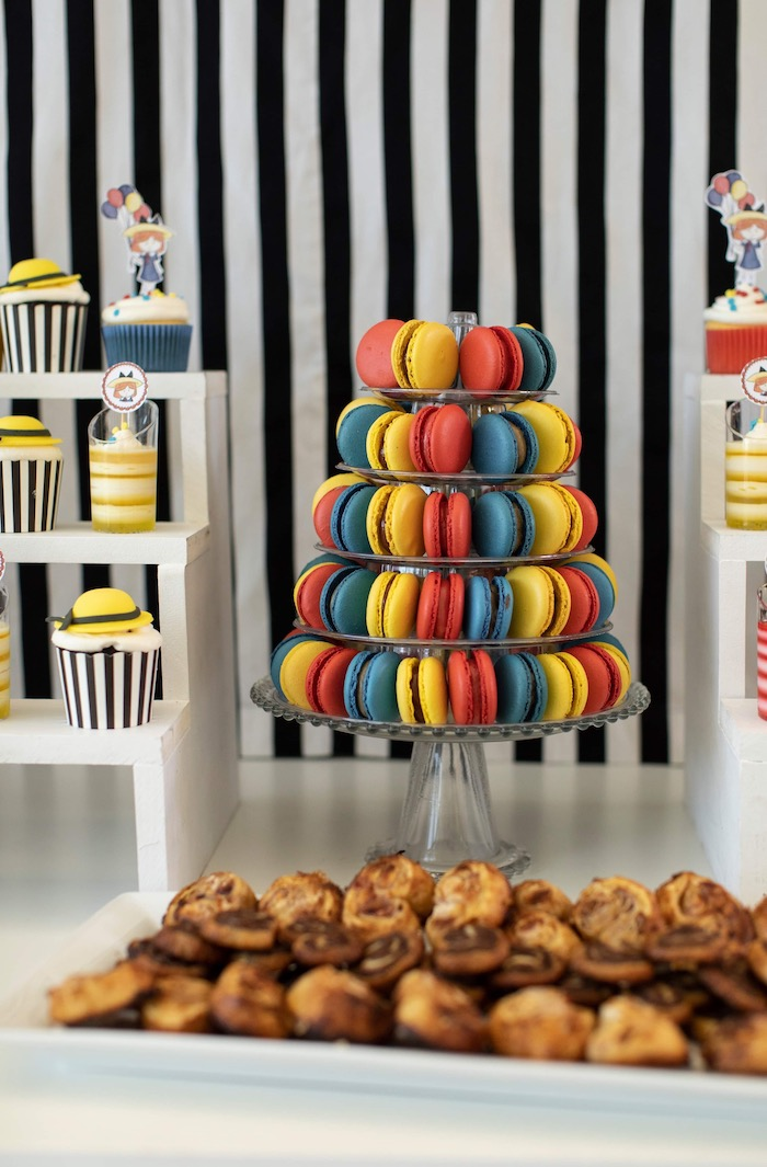 Colorful Macarons + Dessert Pedestal from a Madeline in Paris Inspired Birthday Party on Kara's Party Ideas | KarasPartyIdeas.com (16)