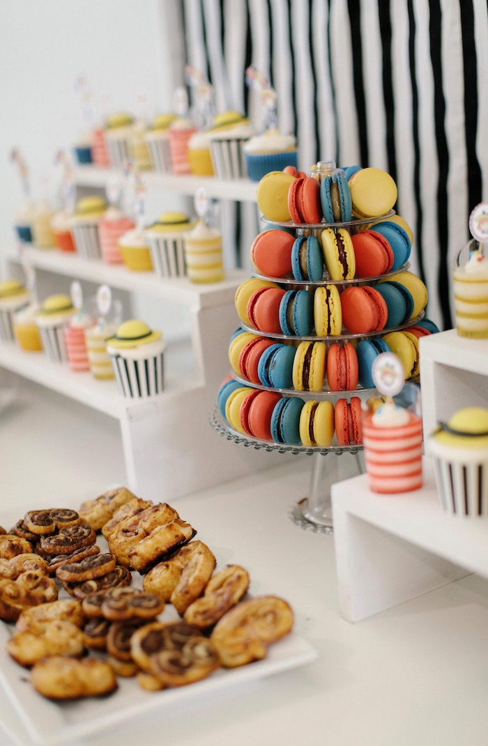 Colorful Macarons + Dessert Pedestal from a Madeline in Paris Inspired Birthday Party on Kara's Party Ideas | KarasPartyIdeas.com (14)
