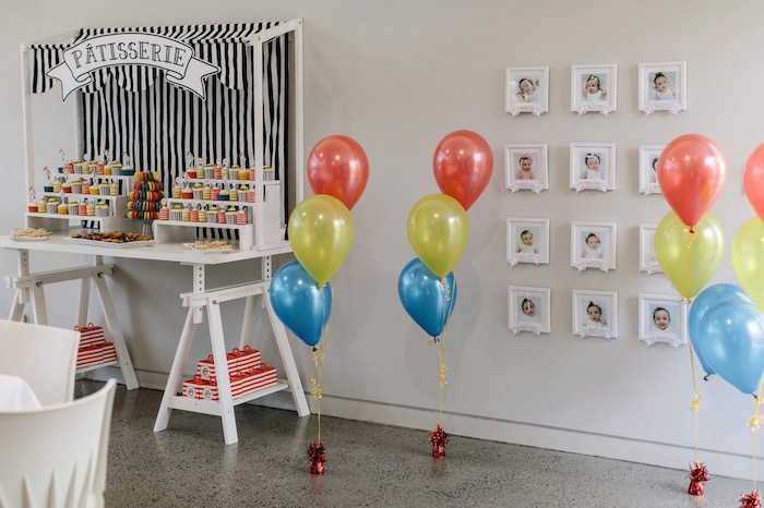 First Year Photo Display from a Madeline in Paris Inspired Birthday Party on Kara's Party Ideas | KarasPartyIdeas.com (13)