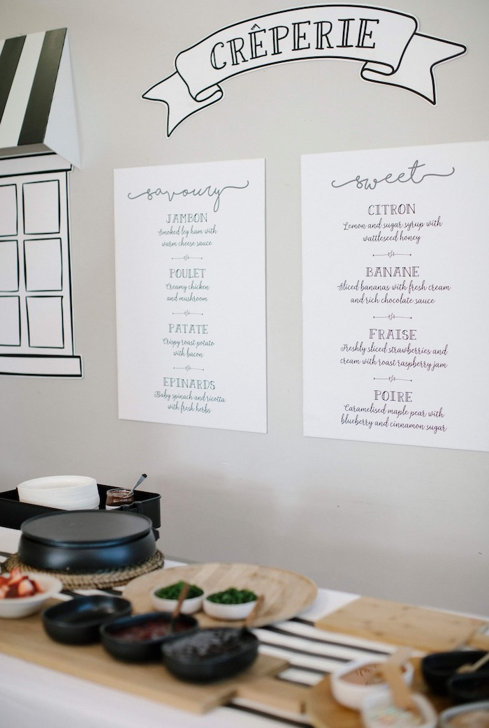 Crepe Menu from a Madeline in Paris Inspired Birthday Party on Kara's Party Ideas | KarasPartyIdeas.com (8)