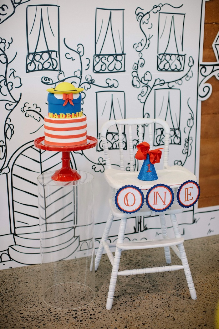 Madeline Themed Cake + Highchair from a Madeline in Paris Inspired Birthday Party on Kara's Party Ideas | KarasPartyIdeas.com (27)