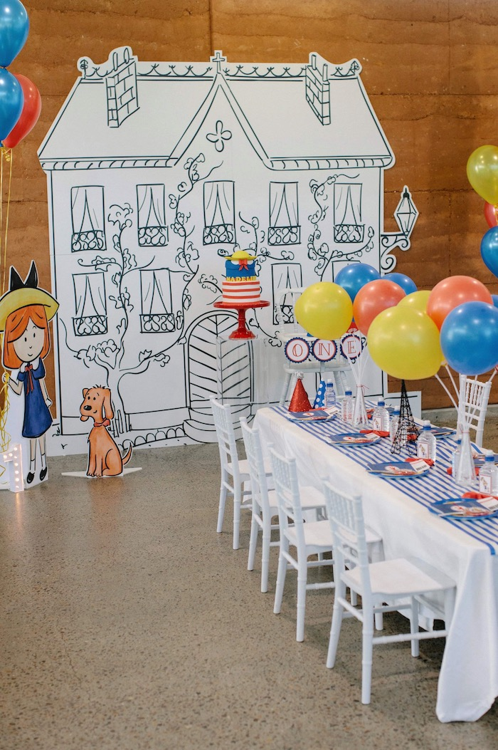 Madeline Party Table + House Backdrop from a Madeline in Paris Inspired Birthday Party on Kara's Party Ideas | KarasPartyIdeas.com (26)