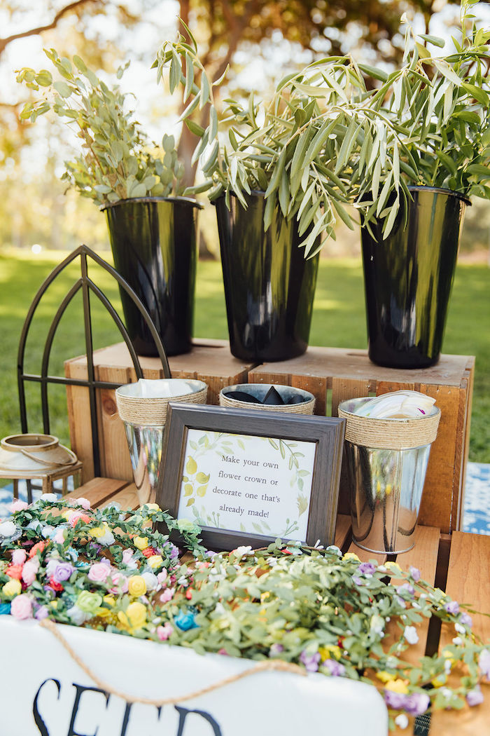 Floral Crown Station from a Magnolia Market Inspired Birthday Party on Kara's Party Ideas | KarasPartyIdeas.com (20)