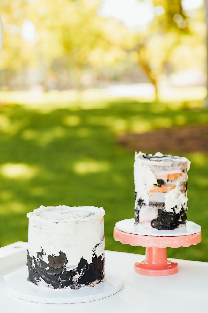 Black + White Watercolor Cakes from a Magnolia Market Inspired Birthday Party on Kara's Party Ideas | KarasPartyIdeas.com (16)