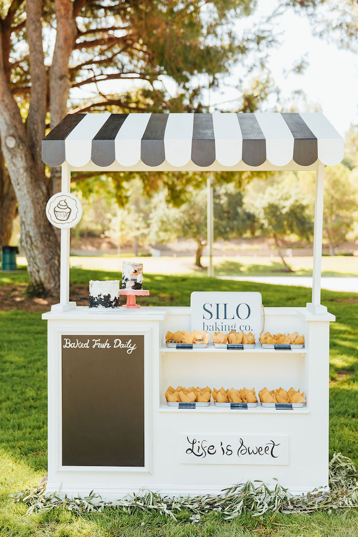 Black + White Dessert Stand from a Magnolia Market Inspired Birthday Party on Kara's Party Ideas | KarasPartyIdeas.com (15)