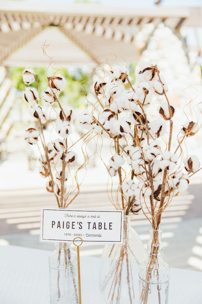 Cotton Centerpieces from a Magnolia Market Inspired Birthday Party on Kara's Party Ideas | KarasPartyIdeas.com (10)