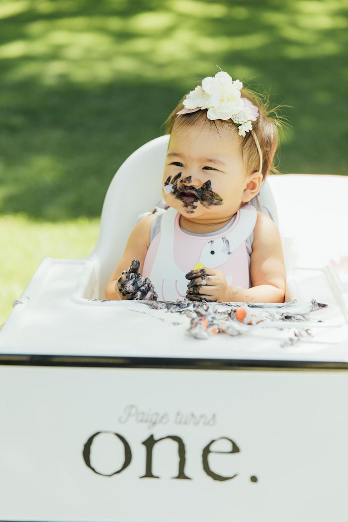 Cake Smash from a Magnolia Market Inspired Birthday Party on Kara's Party Ideas | KarasPartyIdeas.com (6)
