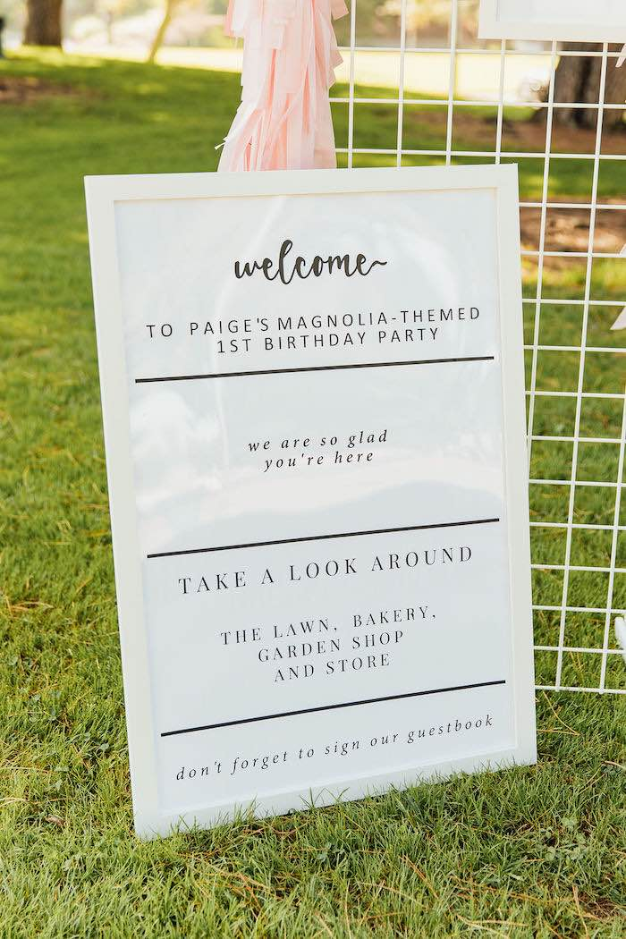 Black + White Welcome Signage from a Magnolia Market Inspired Birthday Party on Kara's Party Ideas | KarasPartyIdeas.com (31)