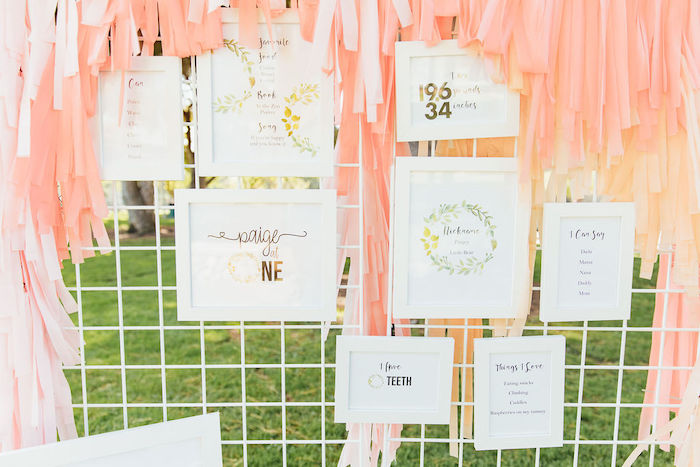 Framed Highlight + Milestone Wall from a Modern Wire Highlight Wall from a Magnolia Market Inspired Birthday Party on Kara's Party Ideas | KarasPartyIdeas.com (28)