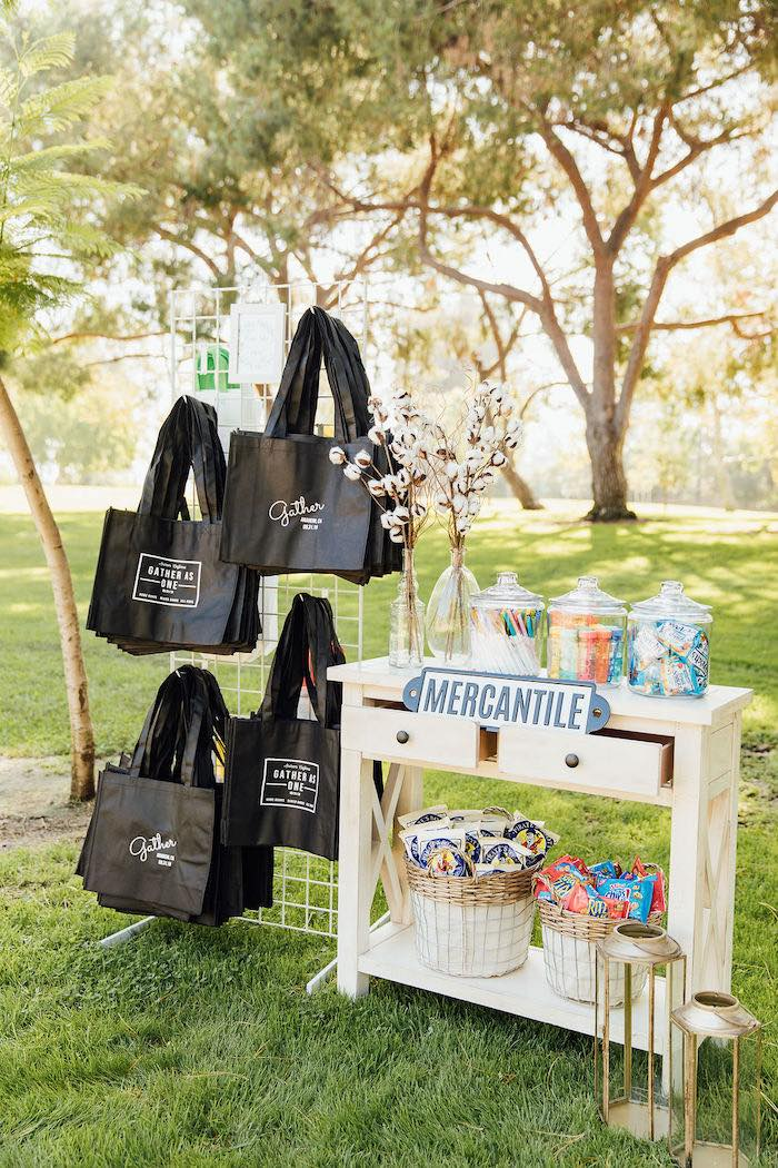 Mercantile Favor Table from a Magnolia Market Inspired Birthday Party on Kara's Party Ideas | KarasPartyIdeas.com (27)