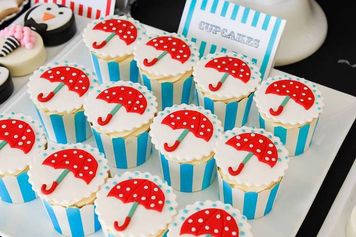Umbrella Cupcakes from a Mary Poppins Birthday Party on Kara's Party Ideas | KarasPartyIdeas.com (84)