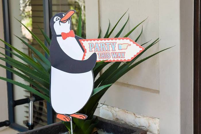 Waiter Penguin Directional Party Sign from a Mary Poppins Birthday Party on Kara's Party Ideas | KarasPartyIdeas.com (81)