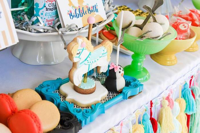 Carousel Horse Cookie + Penguin Cake Pop from a Mary Poppins Birthday Party on Kara's Party Ideas | KarasPartyIdeas.com (78)