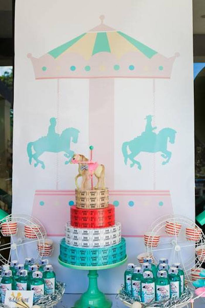 Carousel Themed Party Table + Backdrop from a Mary Poppins Birthday Party on Kara's Party Ideas | KarasPartyIdeas.com (75)