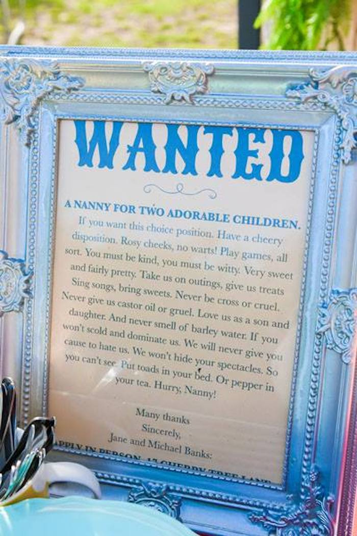 Nanny Wanted Ad from a Mary Poppins Birthday Party on Kara's Party Ideas | KarasPartyIdeas.com (73)