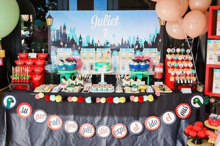 Mary Poppins Themed Dessert Table from a Mary Poppins Birthday Party on Kara's Party Ideas | KarasPartyIdeas.com (72)