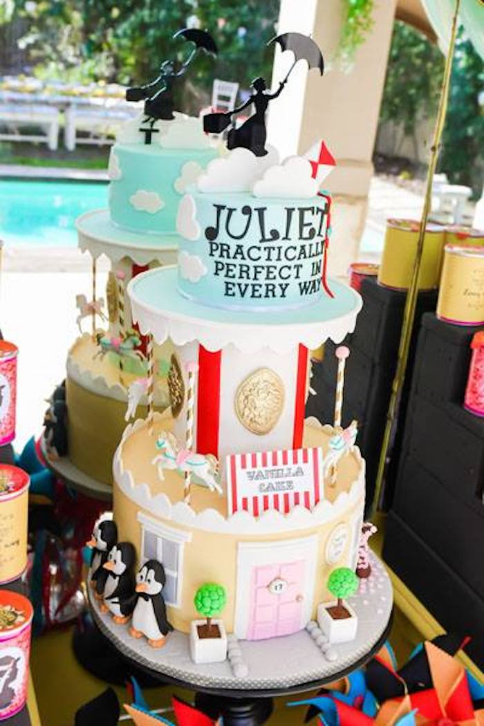 Mary Poppins Themed Birthday Cake from a Mary Poppins Birthday Party on Kara's Party Ideas | KarasPartyIdeas.com (71)