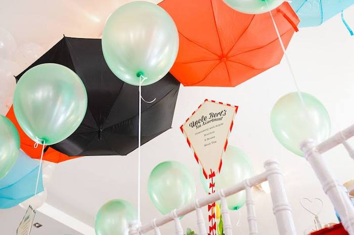 Umbrella + Balloon Ceiling from a Mary Poppins Birthday Party on Kara's Party Ideas | KarasPartyIdeas.com (68)