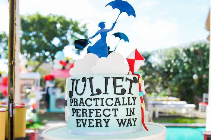 Mary Poppins Cloud Cake Top from a Mary Poppins Birthday Party on Kara's Party Ideas | KarasPartyIdeas.com (98)