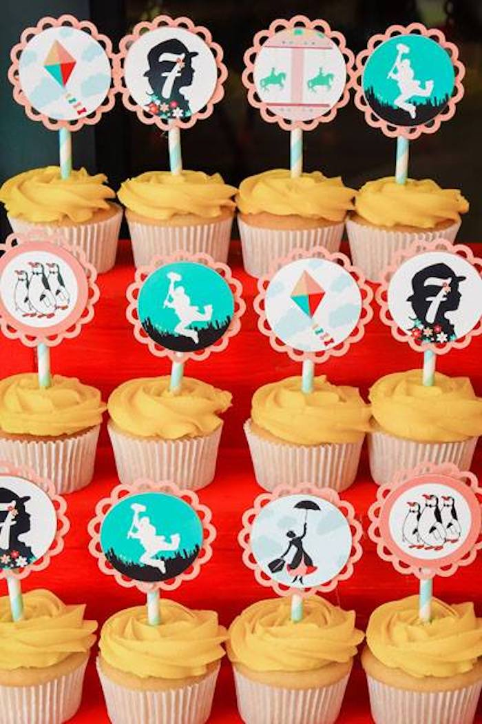 Mary Poppins Cupcakes from a Mary Poppins Birthday Party on Kara's Party Ideas | KarasPartyIdeas.com (51)