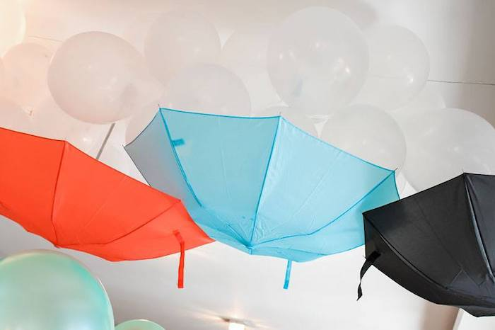 Umbrella + Balloon Chandelier from a Mary Poppins Birthday Party on Kara's Party Ideas | KarasPartyIdeas.com (37)