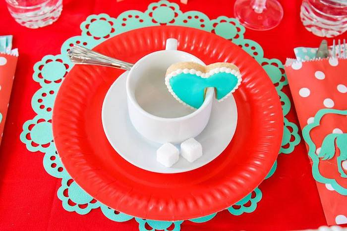 Red + Turquoise Tea Table Setting from a Mary Poppins Birthday Party on Kara's Party Ideas | KarasPartyIdeas.com (36)