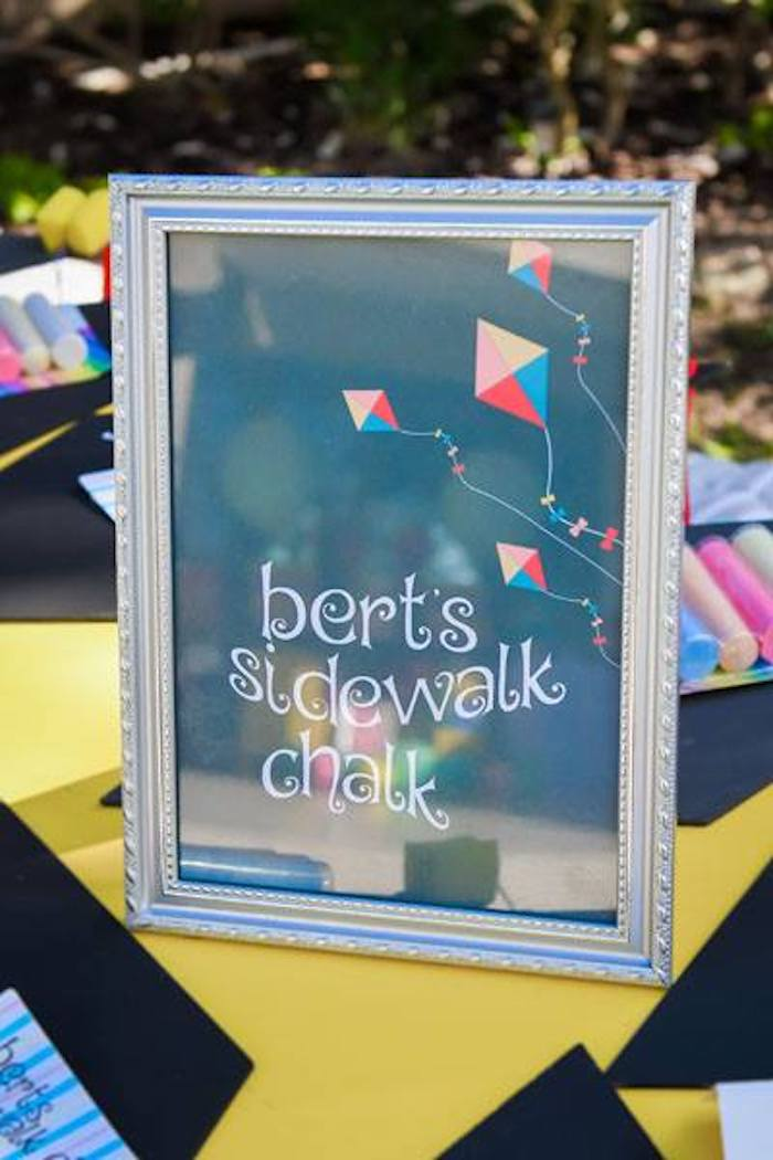 Bert's Sidewalk Chalk Party Table from a Mary Poppins Birthday Party on Kara's Party Ideas | KarasPartyIdeas.com (35)