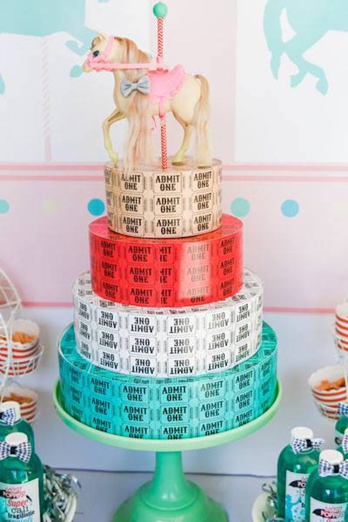 Ticket Roll Carousel Cake from a Mary Poppins Birthday Party on Kara's Party Ideas | KarasPartyIdeas.com (30)