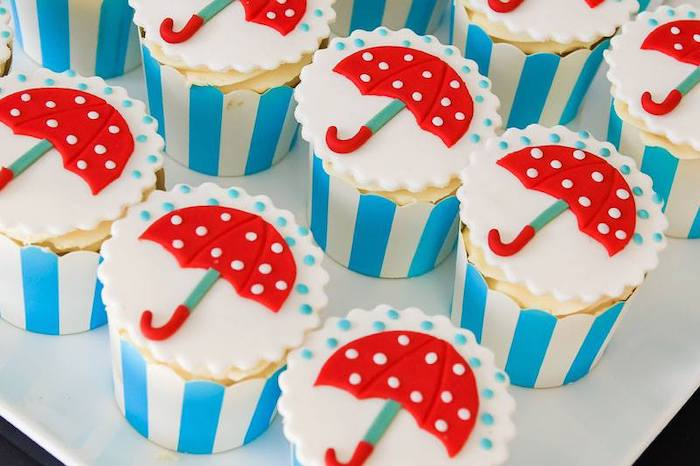 Umbrella Cupcakes from a Mary Poppins Birthday Party on Kara's Party Ideas | KarasPartyIdeas.com (8)