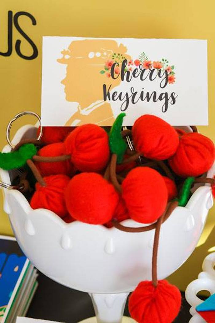 Cherry Keychain Favors from a Mary Poppins Birthday Party on Kara's Party Ideas | KarasPartyIdeas.com (5)