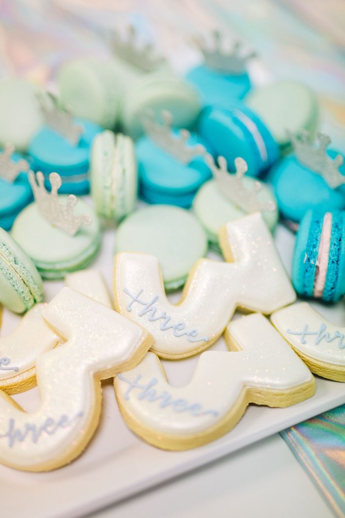 Shimmering Sugar Cookies + Crowned Macarons from a Modern Frozen Birthday Party on Kara's Party Ideas | KarasPartyIdeas.com (31)