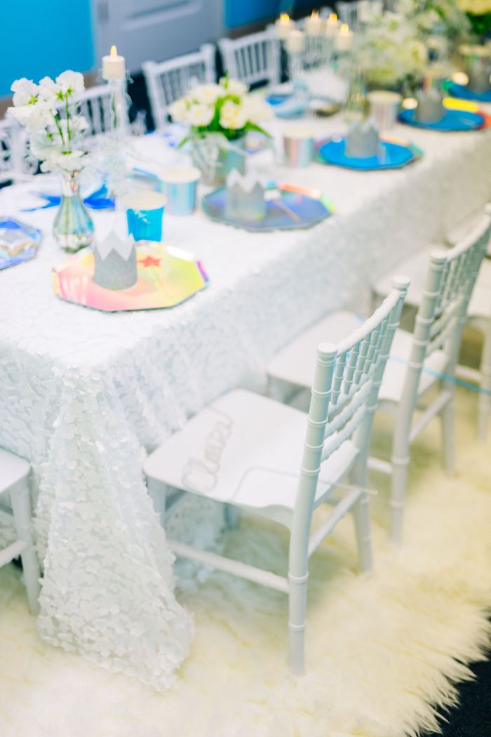 Snow Themed Party Table from a Modern Frozen Birthday Party on Kara's Party Ideas | KarasPartyIdeas.com (30)