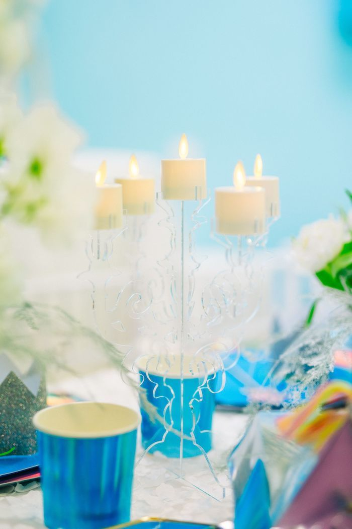 Acrylic + Ice-inspired Candleabra from a Modern Frozen Birthday Party on Kara's Party Ideas | KarasPartyIdeas.com (29)