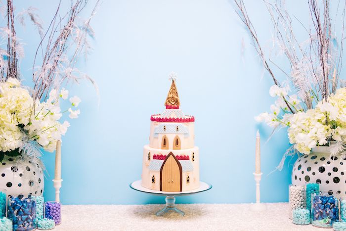 Frozen-inspired Birthday Cake from a Modern Frozen Birthday Party on Kara's Party Ideas | KarasPartyIdeas.com (25)
