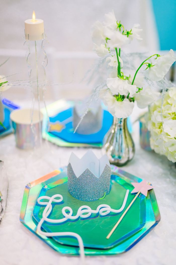 Iridescent Princess Themed Table Setting from a Modern Frozen Birthday Party on Kara's Party Ideas | KarasPartyIdeas.com (23)