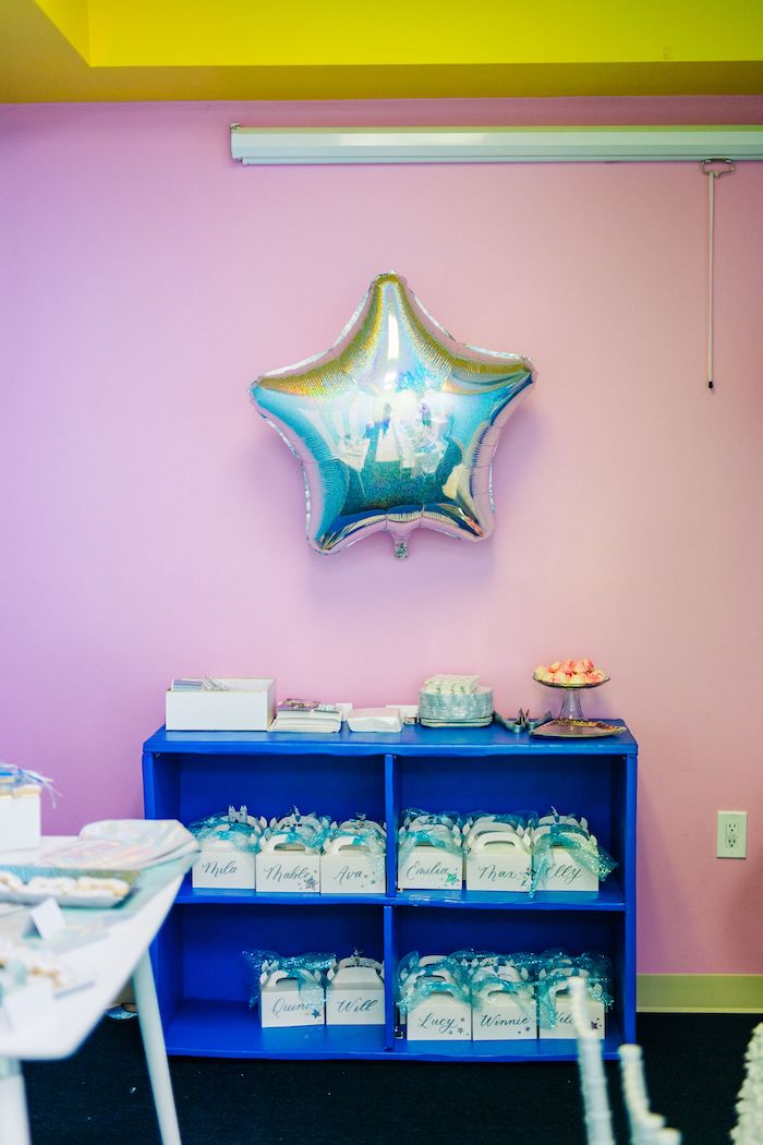 Star Balloon Favor Shelf from a Modern Frozen Birthday Party on Kara's Party Ideas | KarasPartyIdeas.com (22)