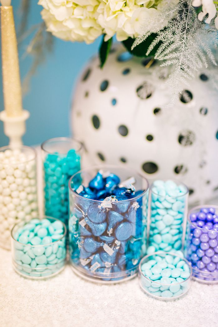 Mini Candy Buffet from a Modern Frozen Birthday Party on Kara's Party Ideas | KarasPartyIdeas.com (21)