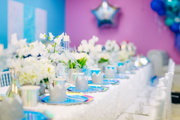 Frozen Themed Guest Tablescape from a Modern Frozen Birthday Party on Kara's Party Ideas | KarasPartyIdeas.com (19)
