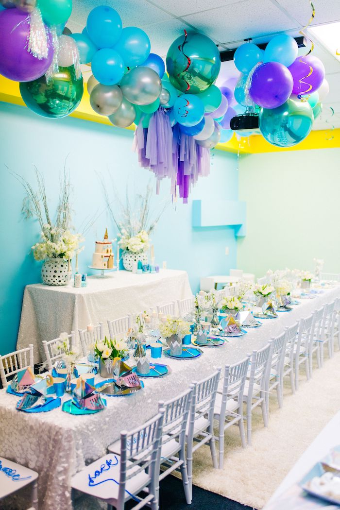 Frozen Themed Party Tables from a Modern Frozen Birthday Party on Kara's Party Ideas | KarasPartyIdeas.com (18)