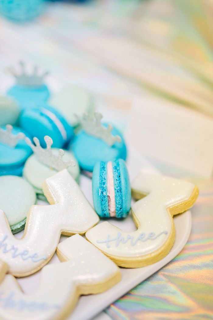 Crowned Macarons + Sugar Cookies from a Modern Frozen Birthday Party on Kara's Party Ideas | KarasPartyIdeas.com (17)
