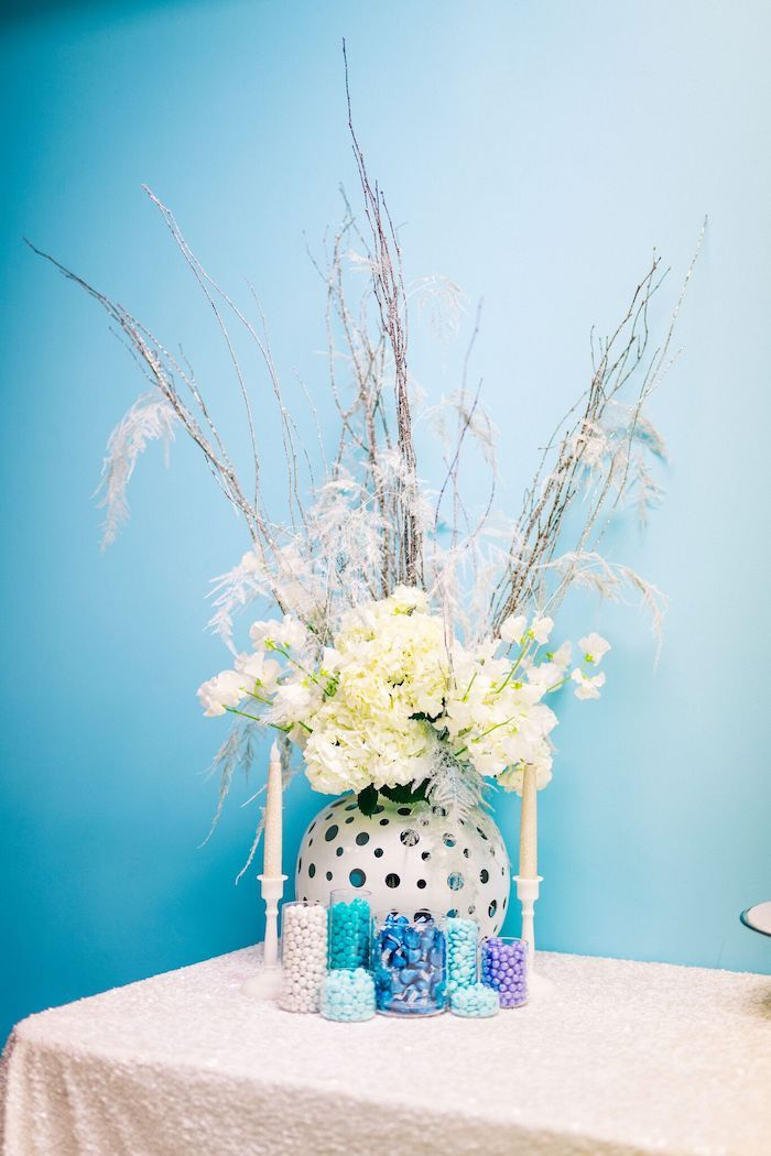 Frozen-inspired Floral Arrangement from a Modern Frozen Birthday Party on Kara's Party Ideas | KarasPartyIdeas.com (16)
